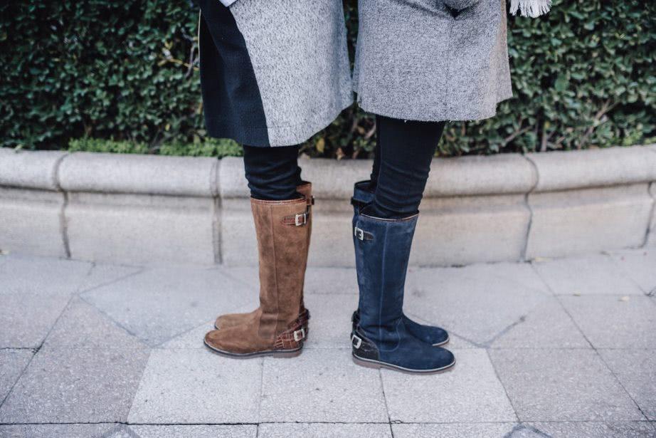 botas altas ante marrón / botas altas ante azul marino