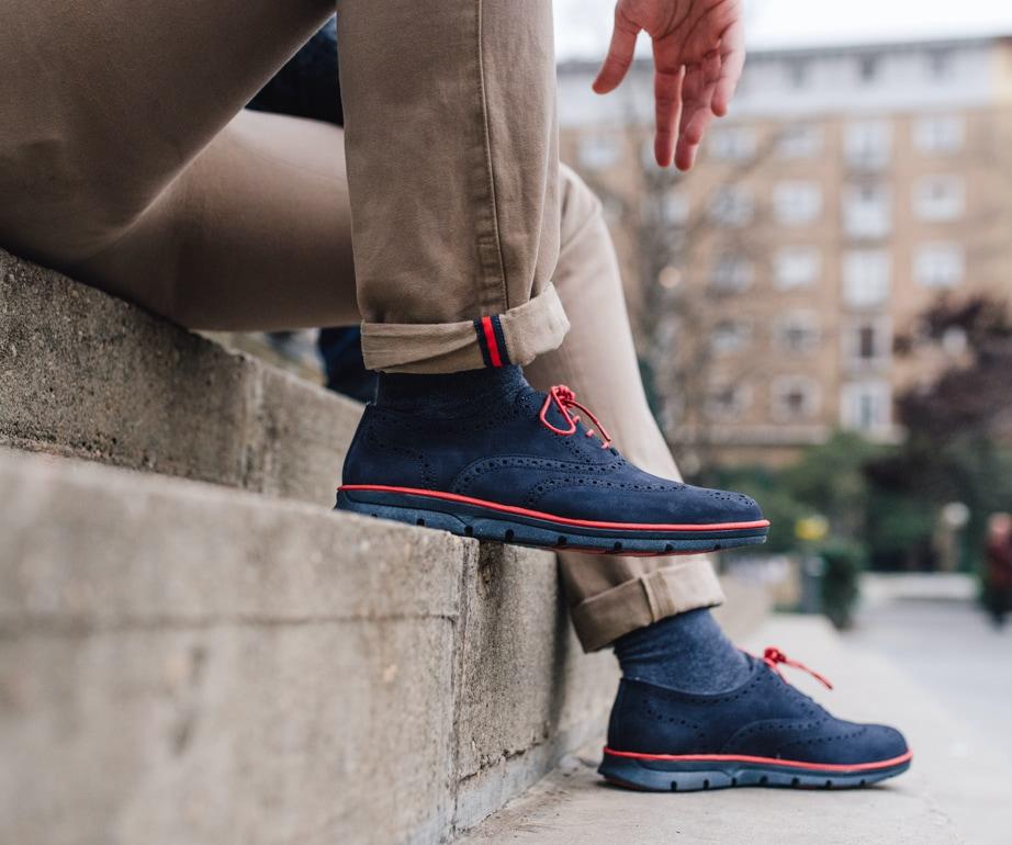 Zapato hombre nobuck azul Kennebec